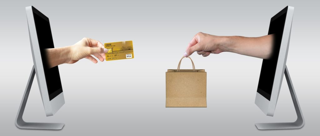 Online shopping - credit cards and shopping bags