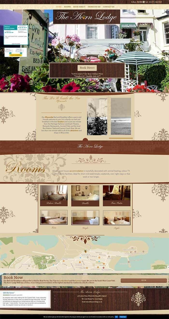 The acorn lodge website in full