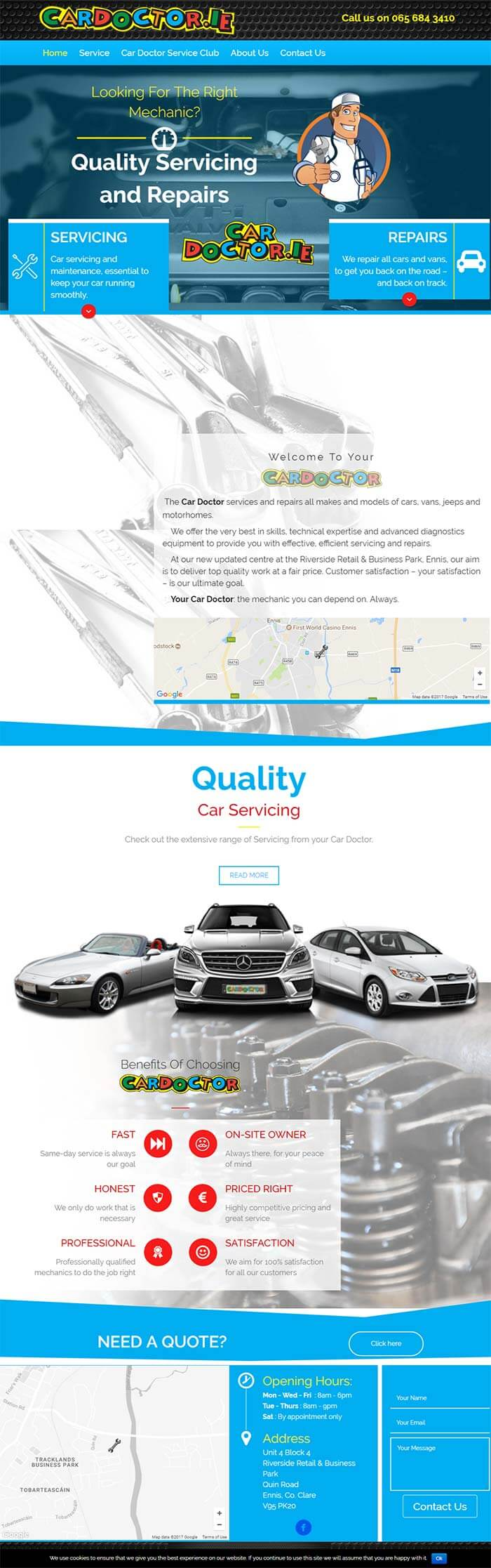 The Car Doctor Website screenshot of home page