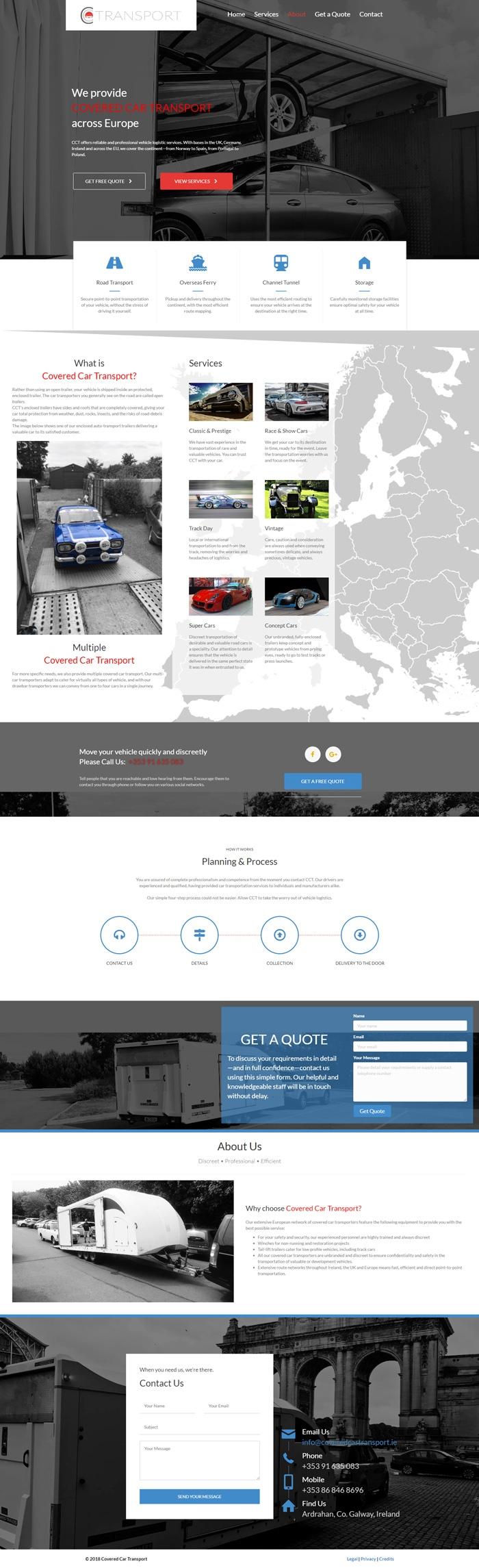 Covered Car Transport Website fullpage